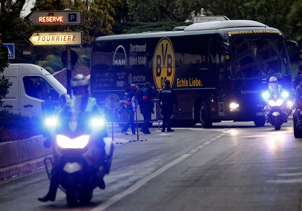 Dortmund were delayed by 20 minutes, the club said on its Twitter account - Copyright 2017 The Associated Press. All rights reserved.