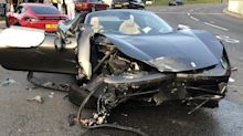 Shocking pictures show wreckage of two supercars that crashed when both drivers were speeding