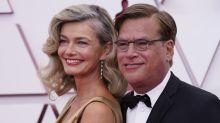 Paulina Porizkova and Aaron Sorkin, who are dating, cuddle up at 2021 Oscars