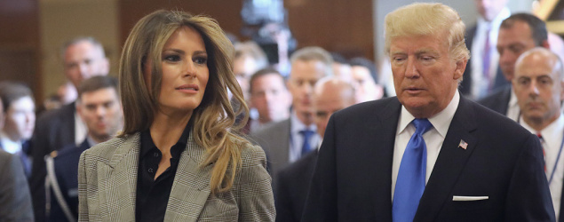 U.S. first lady Melania Trump and President Trump depart the United Nations after the president's speech there. (Newsweek)