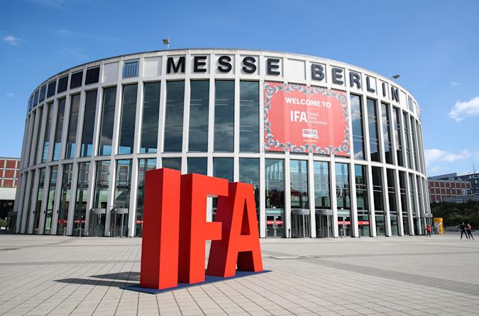 BERLIN, Sept. 3, 2020  -- Photo taken on Sept. 3, 2020 shows the entrance of the 2020 IFA fair in Berlin, capital of Germany. The technology trade fair IFA kicked off here on Thursday in a scaled-back format due to the ongoing coronavirus crisis. (Photo by Shan Yuqi/Xinhua via Getty) (Xinhua/Shan Yuqi via Getty Images)