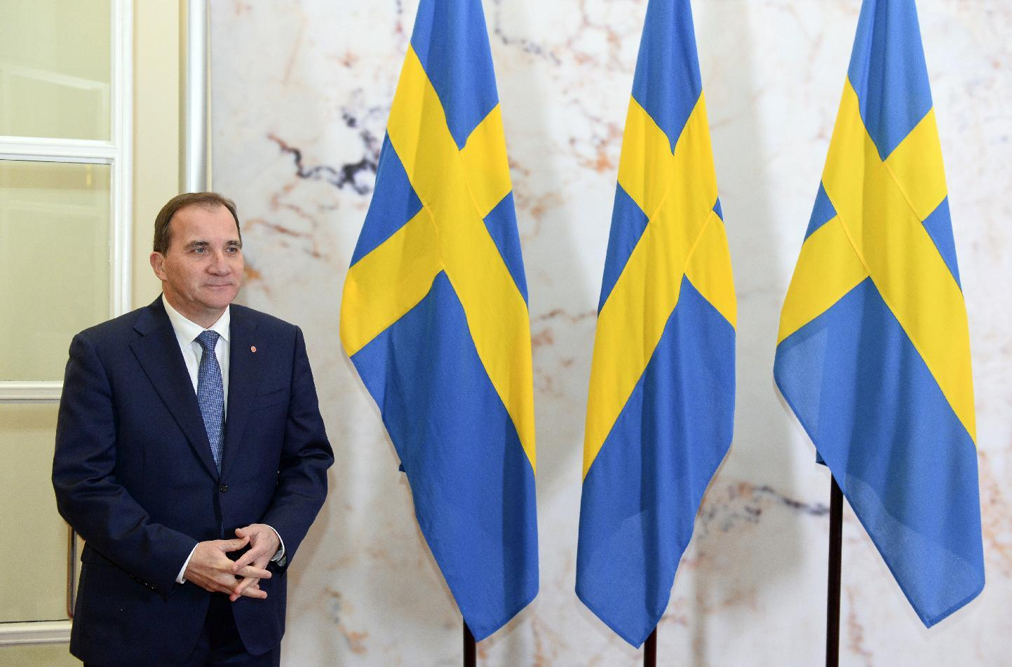 Swedish Prime Minister Stefan Loefven is pictured at the Rosenbad government office in Stockholm on October 27, 2014 (AFP Photo/Jonathan Nackstrand)