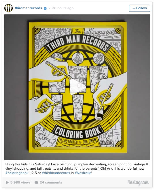 coloring book record third man records by jack white to release music themed