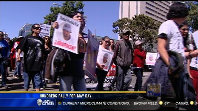 Hundreds rally for May Day