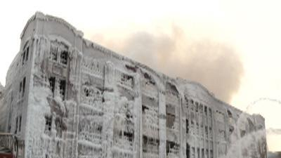 Raw: Warehouse Caked in Ice After Blaze