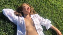Elizabeth Hurley, 55, enjoys the 'country life' with a steamy bikini shot — minus the top