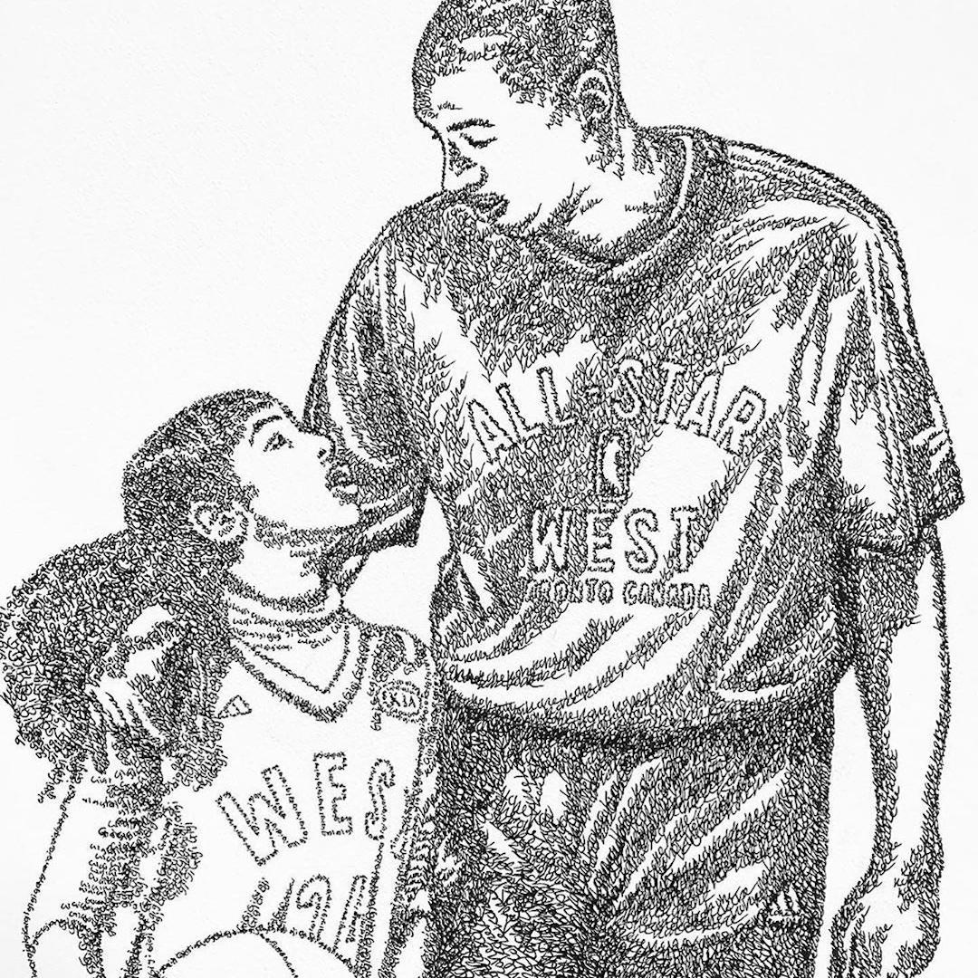 Artist Draws Portrait Of Kobe And Gianna Bryant Using Only Their Names Video