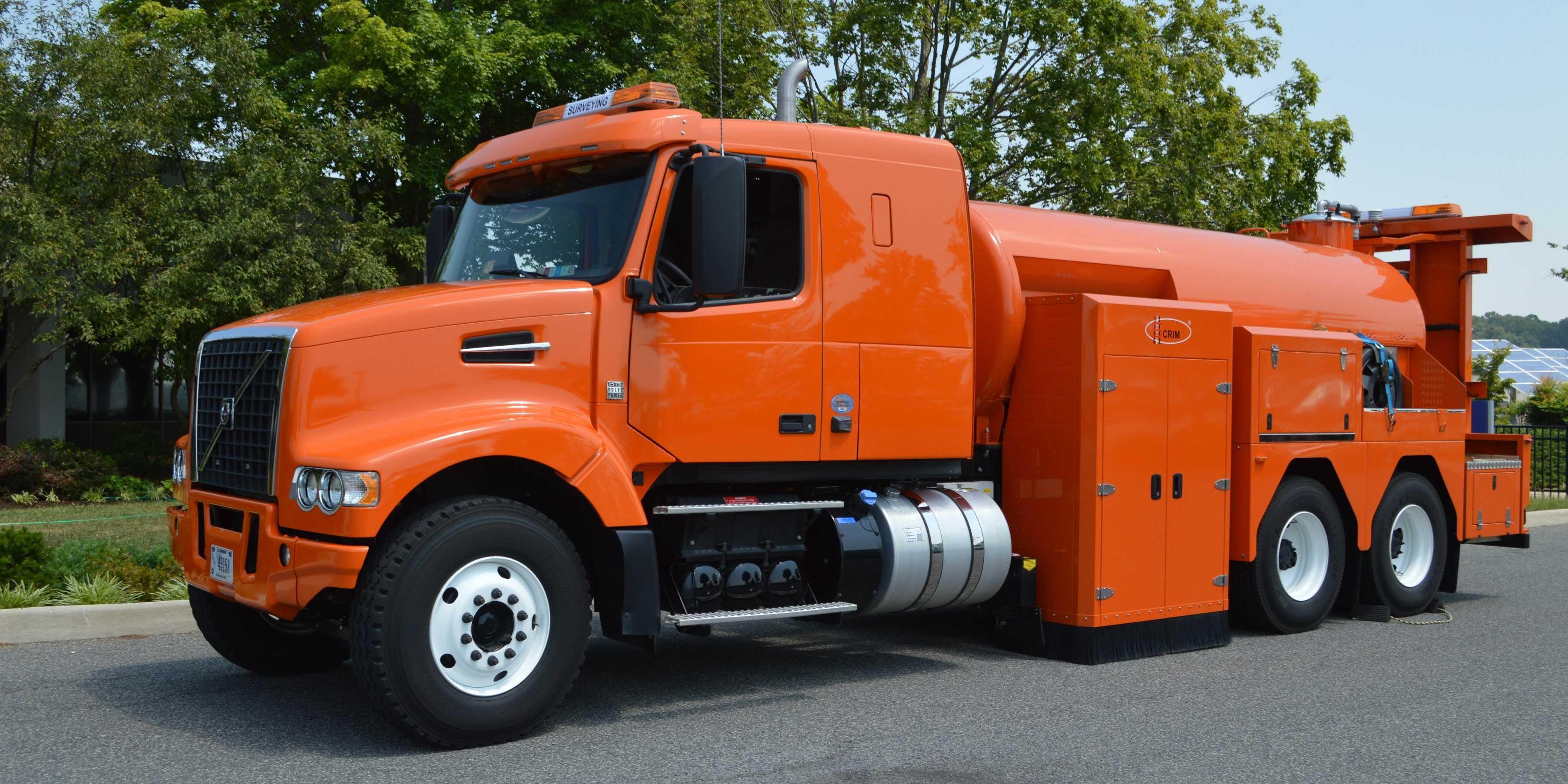 giant orange volvo truck  testing  safety  americas highways