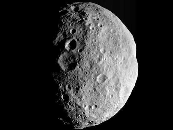 This image is from the last sequence of images NASA's Dawn spacecraft obtained of the giant asteroid Vesta, looking down at Vesta's north pole as it was departing Sept. 5, 2012.