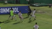 Player turns corner flag into a spear during fight