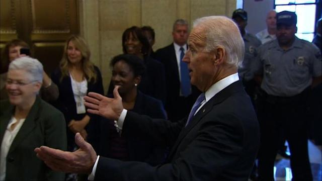 US Vice President Biden welcomes back federal workers