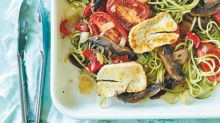Recipe: Zoodles with haloumi and roasted vegetables