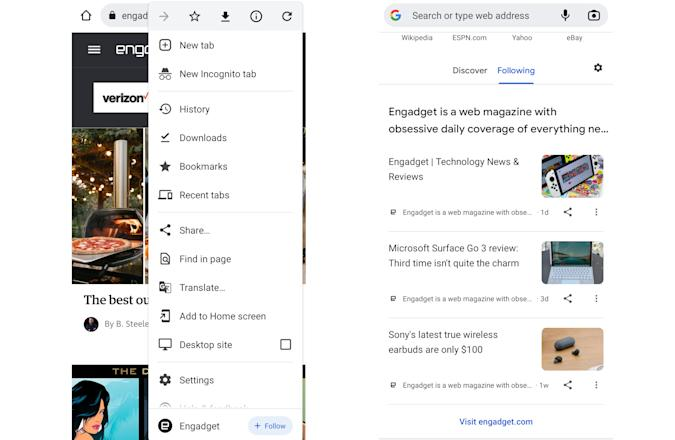 The RSS Follow feature on Google Chrome on Android