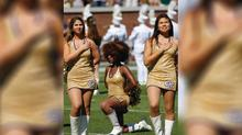 Cheerleader who kneeled in national anthem protest goes viral