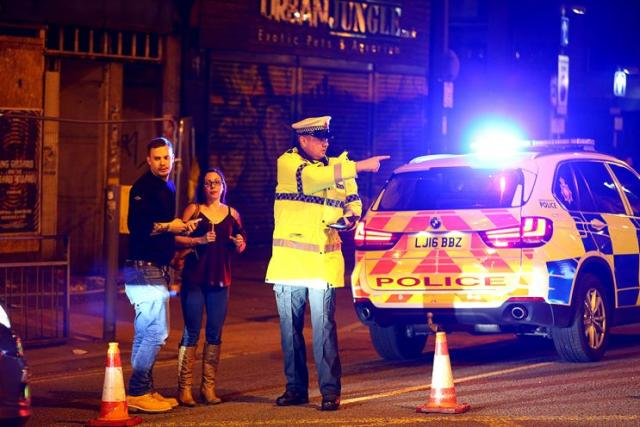 Police outside the Manchester Arena on May 22, 2017