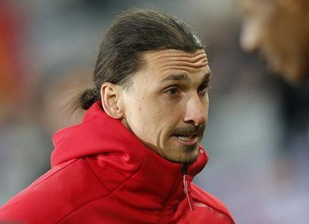 Manchester United's Zlatan Ibrahimovic before the match