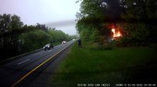 Good Samaritan Pulls Driver From Burning Wreck on Massachusetts Interstate