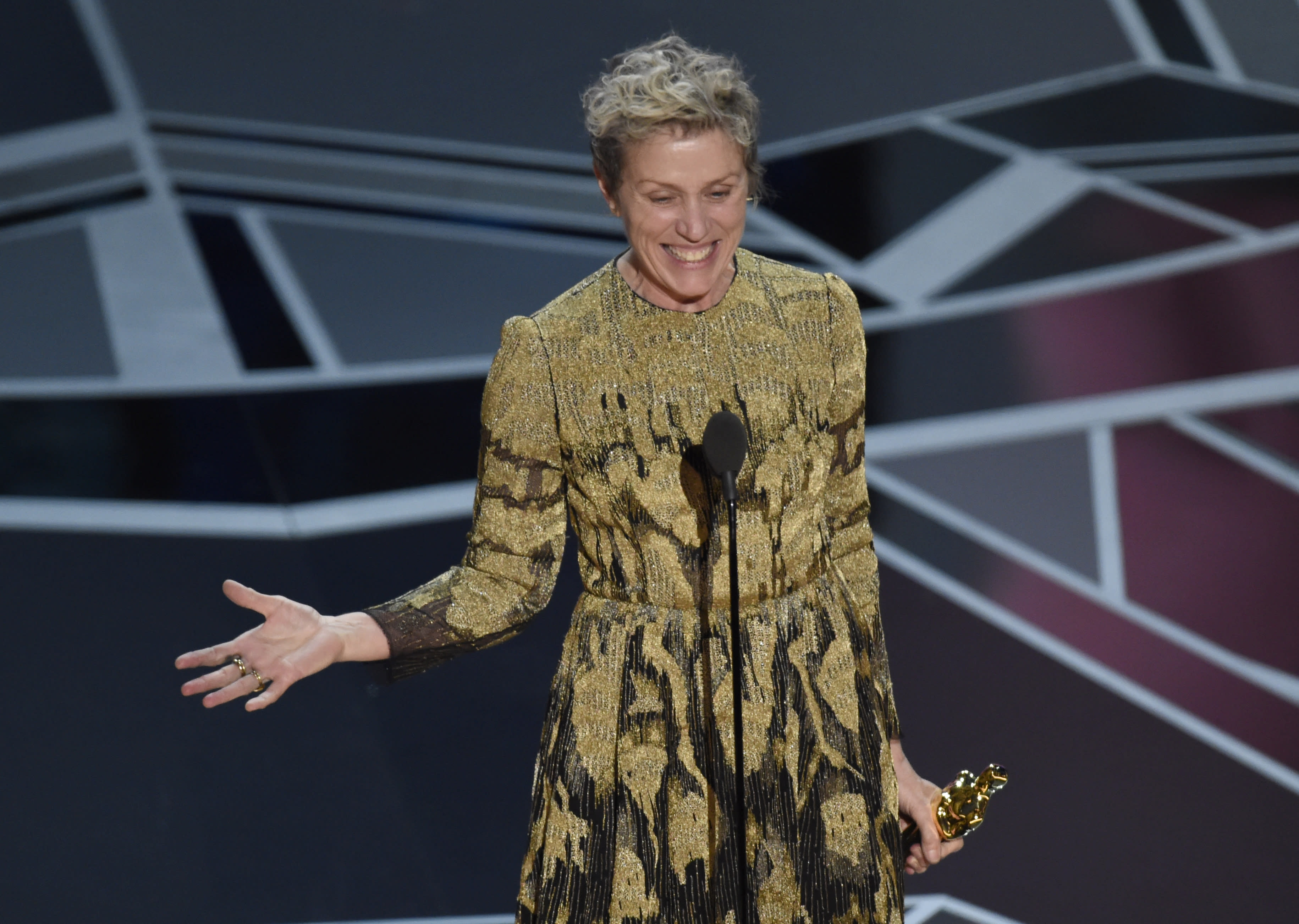 The security team at the annual post-Oscars Governers Awards Ball is looking for a man who tried to make off with Frances McDormand's statue for Best Actress.