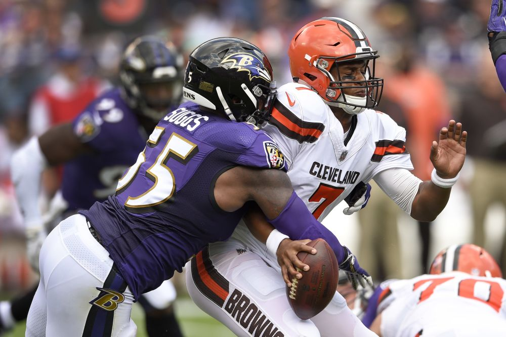 Terrell Suggs and the Ravens battered the Browns last week and surrendered only 10 points. (AP)