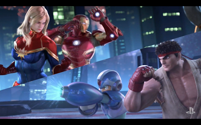 Captain Marvel and Iron Man fight Mega Man and Ryu in the debut trailer. (Capcom)