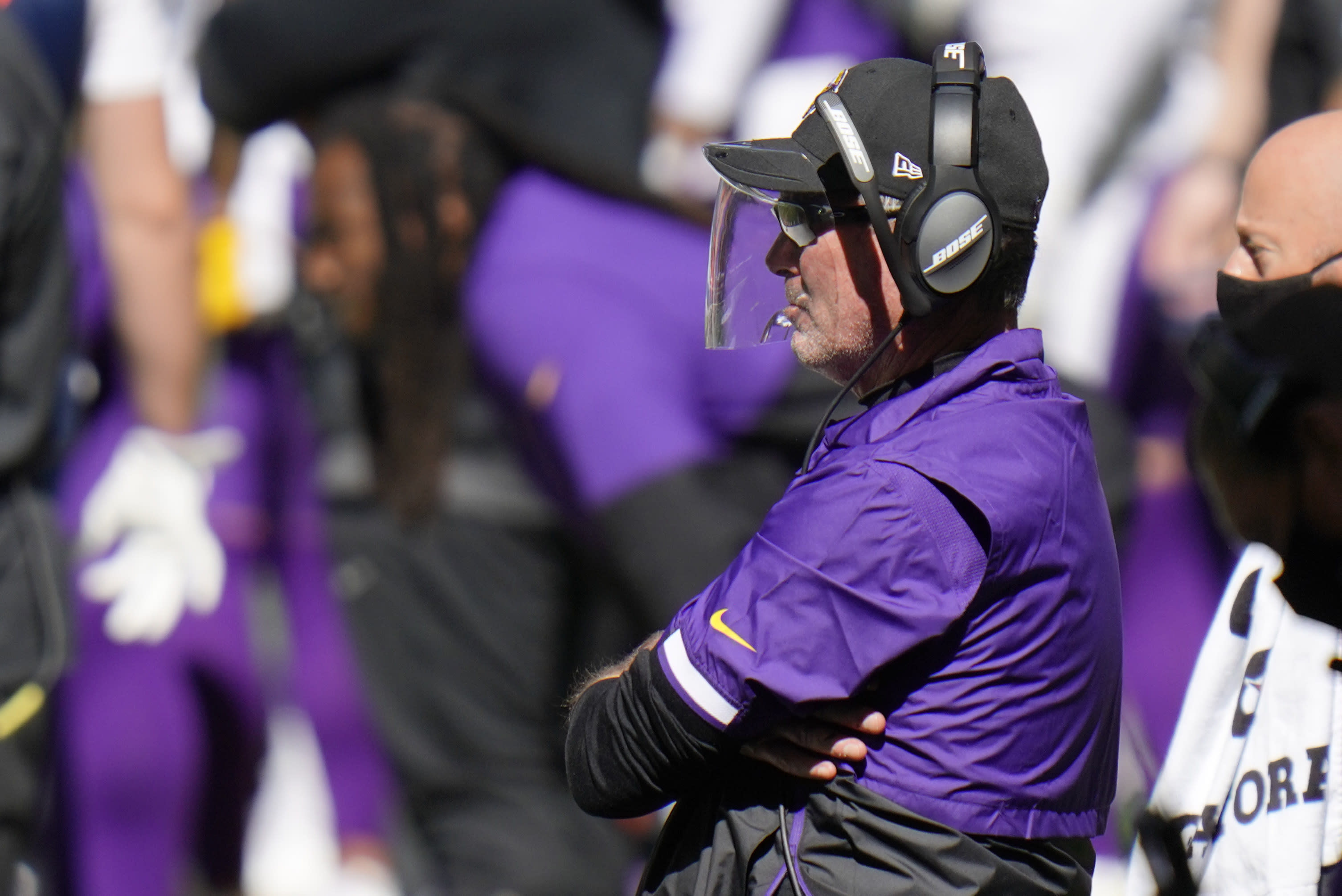Minnesota Vikings head coach Mike Zimmer watches during the second half of an NFL football game against the Indianapolis Colts, Sunday, Sept. 20, 2020, in Indianapolis. (AP Photo/AJ Mast)