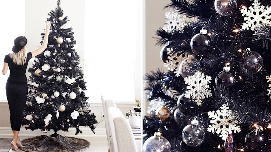Black Christmas trees have landed and they look chic AF