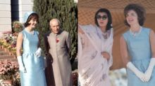 Melania Trump channels Jackie O in blue Ralph Lauren dress