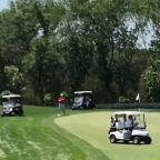 Trump Drives Golf Cart Over Green at Bedminster Club, Fist Bumps Other Golfers