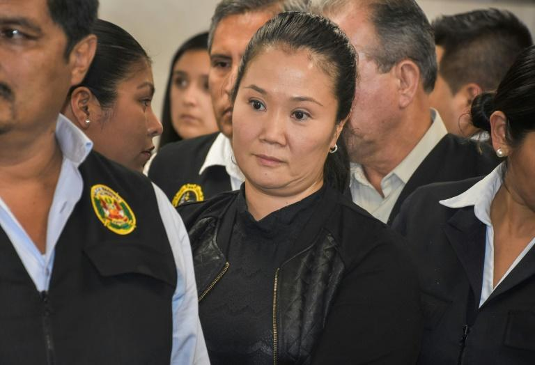 Keiko Fujimori is pictured during a court hearing in the Peruvian capital Lima on October 31, 2018