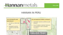 Hannan Discovers First High Grade Copper-Silver Outcrops Over 2.5 KM Strike at Tabalosos, Peru
