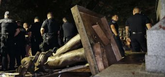 Confederate statue toppled by protesters