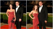 WAGs arrive at the Dally M Awards in same dress