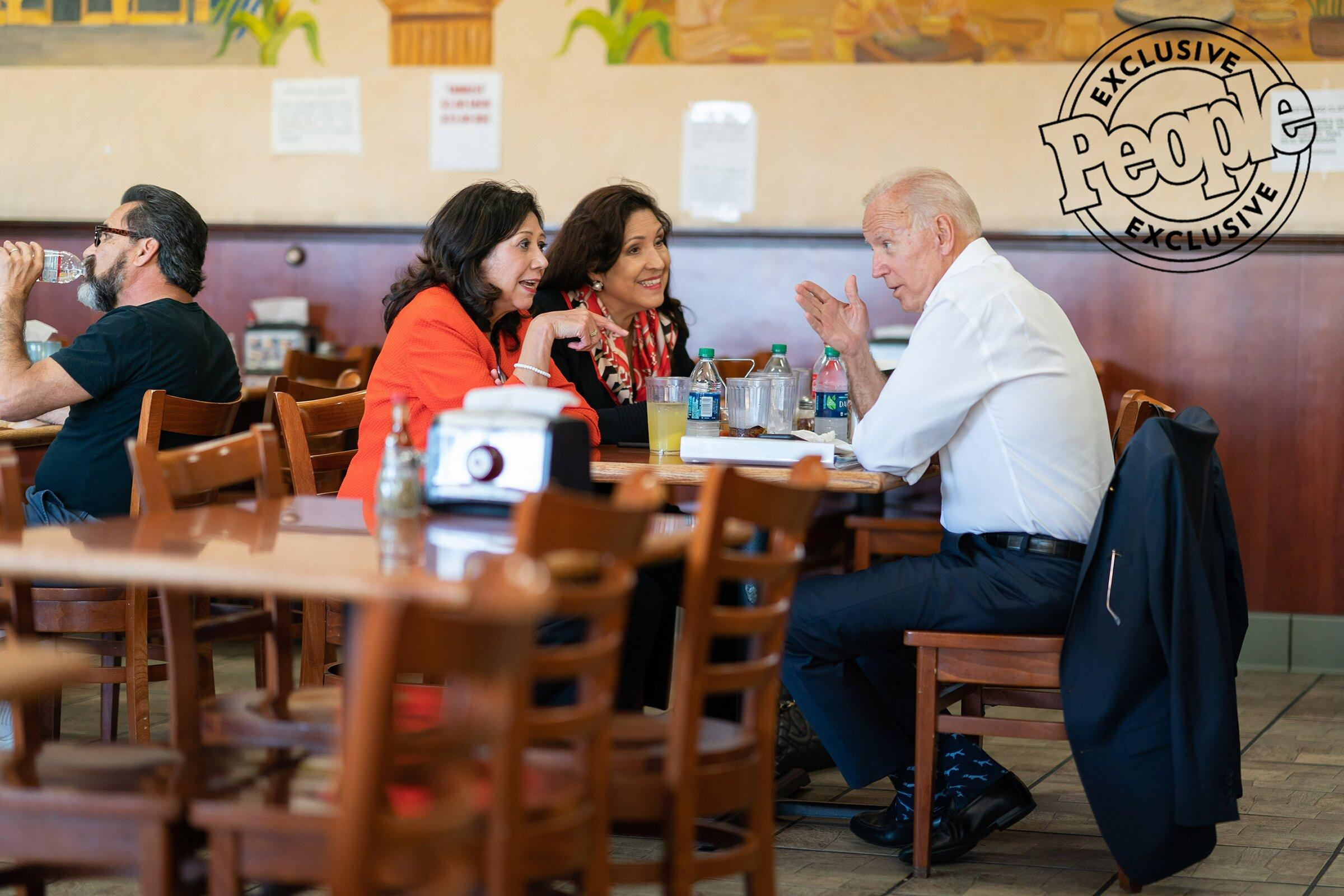 Biden, Former Secretary of Labor Hilda Solis and Dr. Cynthia Tellas have lunch at Tamales Lilianas in Los Angeles on July 19, 2019.