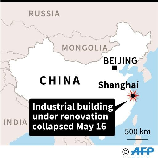 Map showing Shanghai in China where nine workers where trapped in a collapsed building that was undergoing renovation (AFP Photo/)