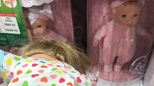 Bloody syringe found sticking out of toy store doll