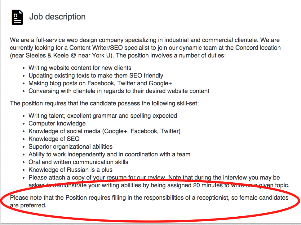 A company in Canada posted an incredibly sexist job ...