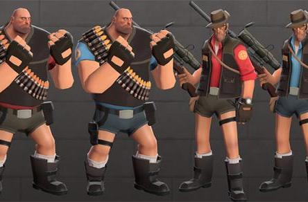 Team Fortress 2's Heavy tries on Lara Croft's hotpants