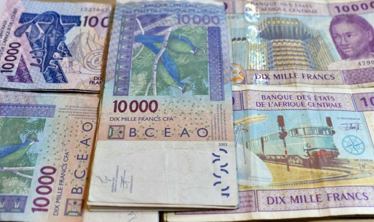 CFA banknotes issued by the Central Bank of West African States -- but the currency's pegging to the euro is controversial and politically sensitive, prompting moves to introduce a new currency, the eco (AFP Photo/ISSOUF SANOGO)