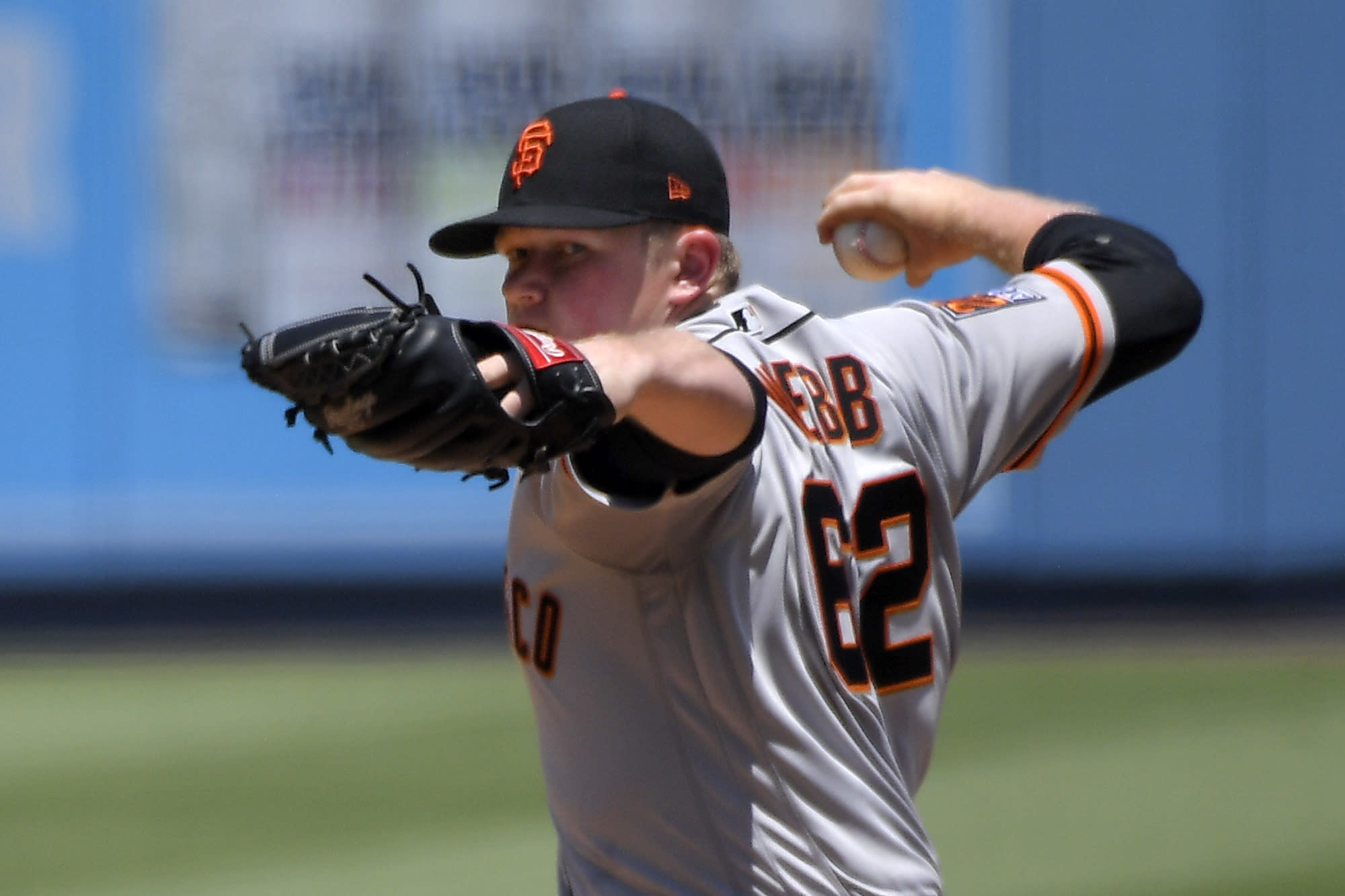 San Francisco Giants starting pitcher Logan Webb throws to the plate during the first inning of a baseball game against the Los Angeles Dodgers Saturday, July 25, 2020, in Los Angeles. (AP Photo/Mark J. Terrill)