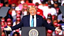 "Trump laughs as Michigan rally chants ""lock her up"" to Governor Whitmer following foiled plot"