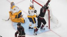 Garland, Hall each score in 3rd as Coyotes beat Preds 4-1