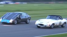 Unlatched Jaguar E-Type hood doesn't prevent blind overtakes at Goodwood