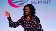 Michelle Obama is powerful in plaid while talking friendship, social media, and parenting