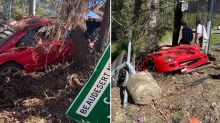 'Expensive mistake': Rare $2m Ferrari stuck in ditch after crash