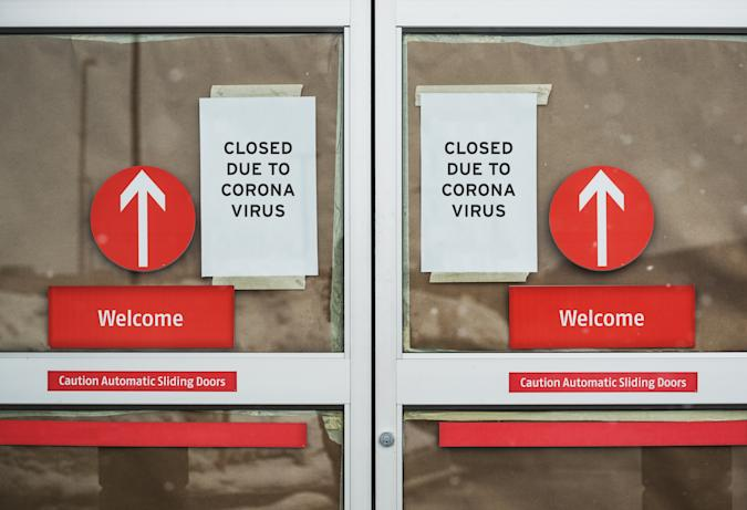 Big box store closed due to Coronavirus.  Composite image.