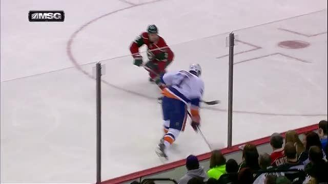 Kyle Okposo hammers one past Harding