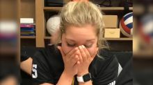 Watch college athlete find out she's been awarded a full scholarship and tell her mom
