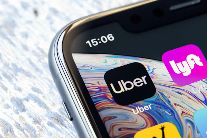 Tyumen, Russia - May 11,2019: Mobile app Uber on a Apple iPhone XR