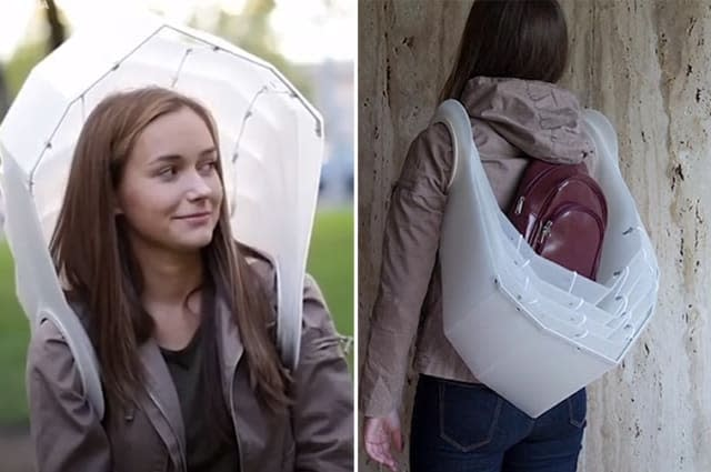 The umbrella you can wear like a backpack