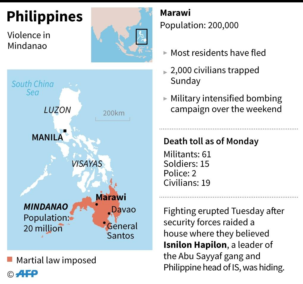 Map of the Philippines locating the city of Marawi where some 2,000 civilians are trapped after almost a week of fighting between Islamist militants and government forces. (AFP Photo/Laurence CHU)